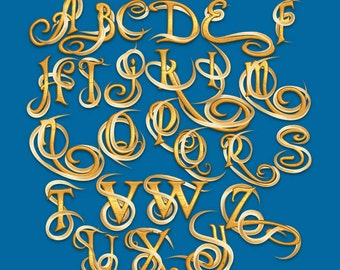 Tangled - Alphabet Clipart - 109 png files 300 dpi - 2 Alphabets