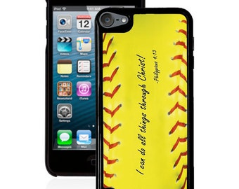 Philippians 4:13 Softball iPod 5g case, bible verse scripture ipod case 4g 5g  faith iPod case 5g & 4g
