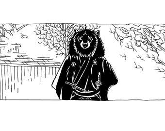 Long Sleeve Unisex T-Shirt - Yojimbear - Toshiro Mifune As A Japanese Black Bear In Akira Kurasawa'S Classic Film, Yojimbo!