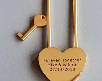 Love Lock, Heart Lock, Custom Lock, Gold Heart Love Padlock With Key, Engraved Lock Lock, Gold Padlock, Personalized Padlock
