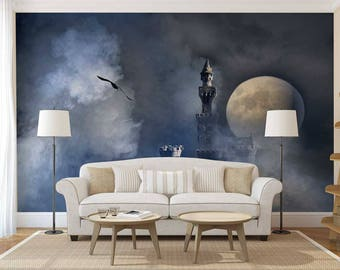 Wall Mural Castle, Moon Wall Decal, Night Wallpaper, Castle Wall Mural, Wall Decal Night