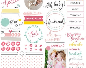 Your Ultimate Blogging and Website Design Kit - Photoshop Templates for photographers (WBKO1) - INSTANT DOWNLOAD