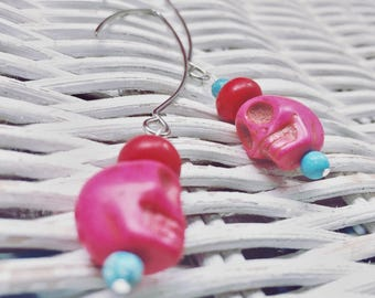 Earrings - Dangle - Hot Pink Skull - Turquoise - Red - Large Silver Earwires - Unique - Halloween - Day of the Dead