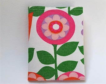 Reusable Composition Notebook Cover made from 1960s Floral Fabric