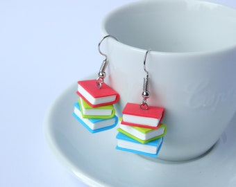 Book earrings dangle stack red green blue books polymer clay