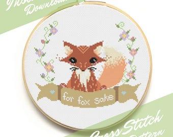 PATTERN Modern Cross Stitch Pattern - For Fox Sake - Woodland Creature - Instant Download - Counted Cross Stitch Chart - Subversive