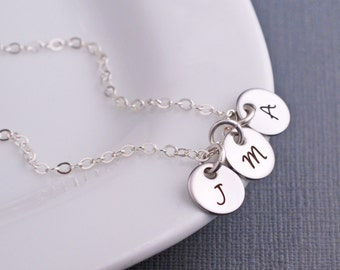 Personalized Mother Necklace, Initial Necklace Silver, Wife Gift, Simple Initial Necklace, Gift for Daughter