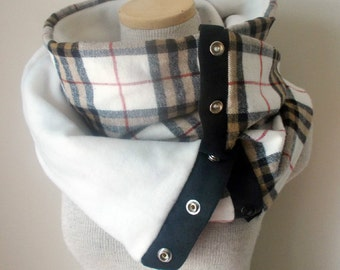 Unisex - BROWN and IVORY Plaid Snap Scarf