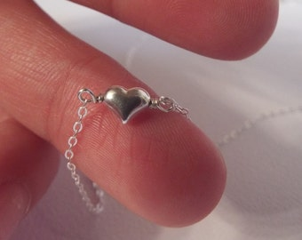 925 Tiny Silver Heart Necklace- Puffed Heart- Sterling Silver- Small Heart Necklace- Silver Heart- Mini Heart Charm Necklace- Jewelry