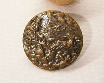 "Antique Button, GODDESS Diana, Cherubs, Horse Drawn Chariot, 11/16"", ANIMAL CHARITY Donation"