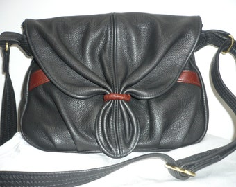 MULTI COMPARTMENT LEATHER Black and Brown Bag with Adjustable Crossbody Strap Style #476 2-T