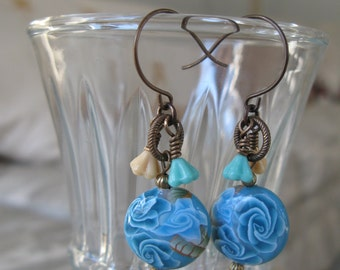 turquoise earrings, blue earrings, butterfly earrings, romantic earrings, unique earrings, floral earrings, blue roses - Twice as Nice