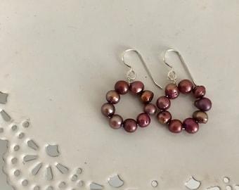 Burgundy Pearl Hoop Earrings   Pearl Statement Earring   Fresh Water Pearl Earrings   Circle Pearl Earrings   Custom Pearl Earring