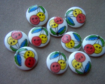 Vintage Cherries Glass Cabochons x 10     # ZZ 12