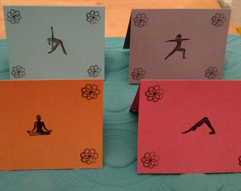 Yoga Pose Colored Note Cards