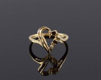 14k Heart Outline Nugget Ring Gold