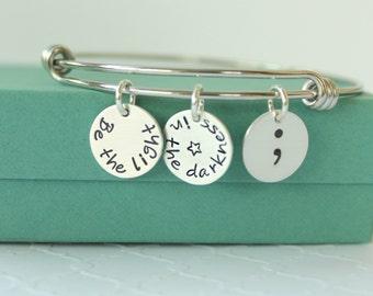Semicolon Bracelet - Personalized Bracelet - Charm Bracelet - Semicolon Jewelry - Inspirational Bracelet - Personalized Jewelry -