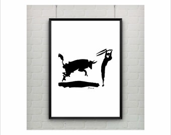 "Pablo Picasso ""Bullfight II"" Oneliner poster on paper or canvas / Abstract Animals / up to A0 size / Minimalist Art / Kids Room Decor"