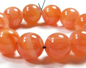 10mm Natural Genuine Orange Botswana Agate Round Bead - 12 beads - #SJ6125