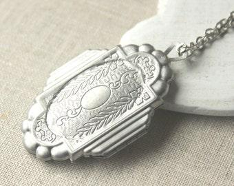 Large Antiqued silver Locket secret message locket Necklace long chain photo locket Pendant dark silver plated locket keepsake N25