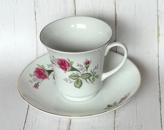 Pink Rose Rosebud Teacup and Saucer