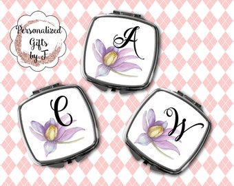 Bridesmaid Gifts, Floral Design Compact Mirror, Purse Mirror, Gift for Her, Monogrammed Mirror, Makeup Mirror, Design 1112