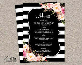 Striped menu etsy wedding menu cards elegant printable floral black and white stripe menus with pink watercolor flowers mightylinksfo Choice Image