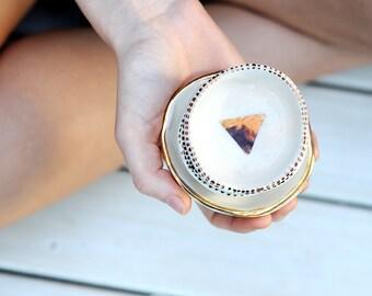 SOLE - Pyramid Jewellery Bowl - Stoneware Clay - Copper Lustre