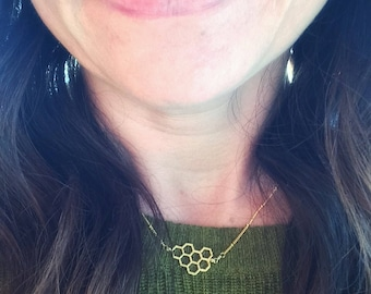 Spread Kindness - gold honeycomb necklace