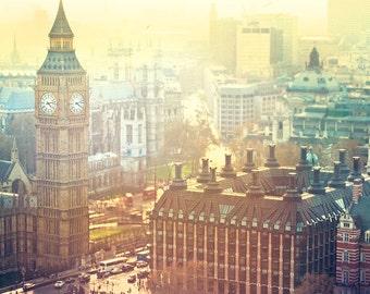 London Photography // Big Ben London Art Print // London Aerial Photography // Nostalgic Travel Photography // Travel Theme / London Big Ben