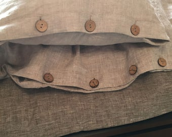 LINEN PILLOWCASES, Linen Pillowcases With Button Closure, Pure Flax Pillowcase, Handmade Pillow Shams, Queen, Euro, Custom Size, Gift.