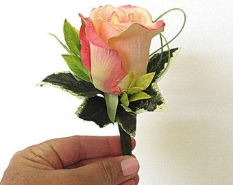 Faux Boutonniere - Wedding Boutonniere - Anniversary Boutonniere - Prom Boutonniere - Peach/Pink Variegated Rose Boutonniere