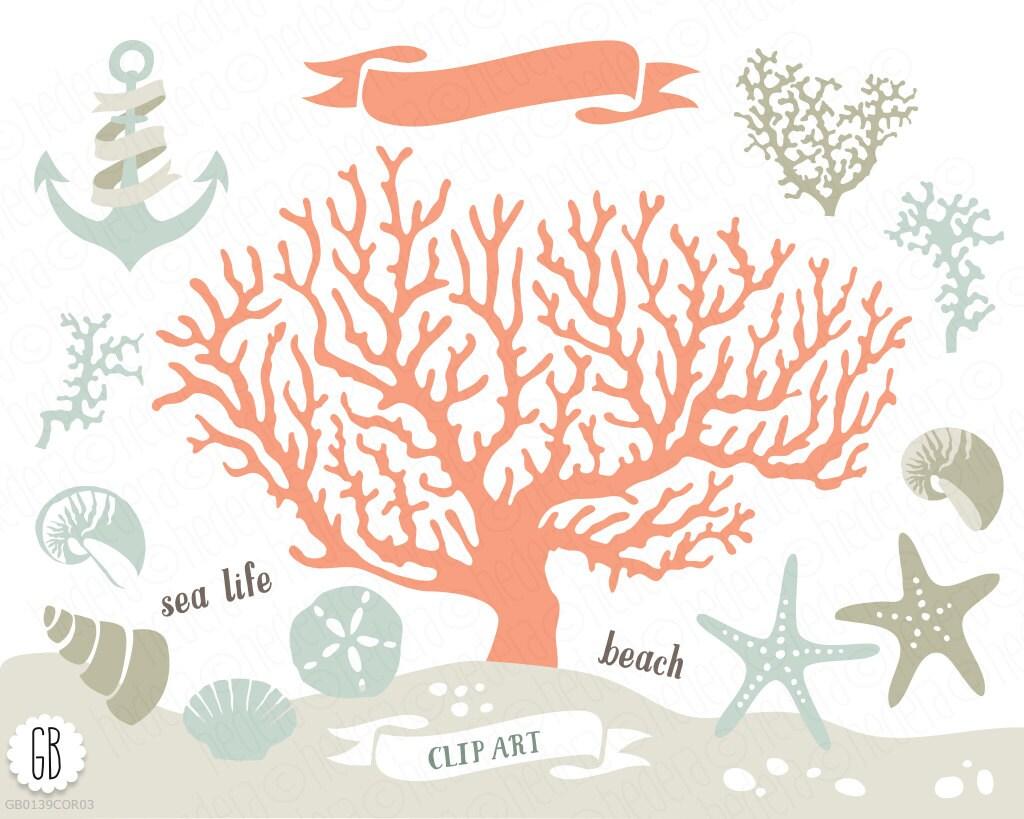 Coral beach sea life vector clip art, corals, starfish, sand dollar ...