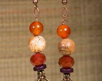 Carnelian, yellow agate and picture jasper earrings