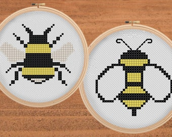 2 Bumblebee Cross Stitch Patterns
