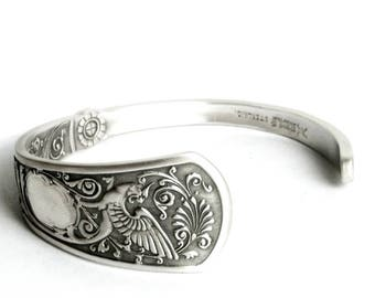 Griffin Bracelet, Gryphon Cuff Bracelet, Sterling Silver Spoon Bracelet, 925 Dragon Jewelry, Gift for Her or Him, Adjustable Ring Size, 6974