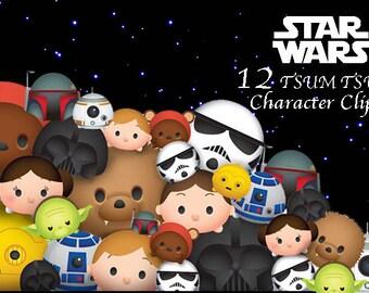 STAR WARS Tsum Tsum Clipart. 12 High Resolution Digital Clipart. Tsum Tsum Party. Star Wars Birthday. Baby shower. Party Supplies.