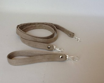 removable wrist strap or extra strap suede coordinated with carabiner silver/accessory bag/strap to bag