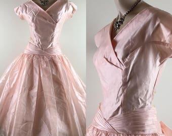 Vintage 1950s Pale Pink Crystal Georgette Party Dress/Formal