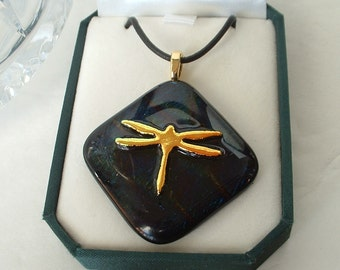 Vintage Dichroic Glass Pendant Necklace w Golden DRAGONFLY Hand Crafted Mariposa Glassworks