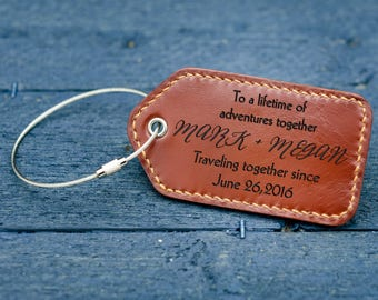 3rd Anniversary gift / Personalized Luggage Tags / Leather Luggage tags / Anniversary Gift/ Gift for him /Gift for her / Couple Gift -LG02