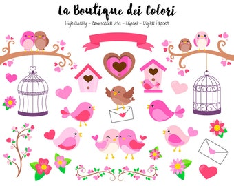 Pink Valentine's Day Birds Clipart, Cute Digital Graphics PNG and, Love Birds Clip art, Bird House, Bird Cage, Hearts, Love letter Clip Art