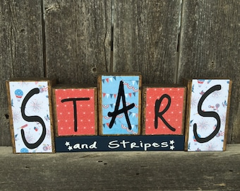 4th of July wood blocks--Stars and stripes blocks