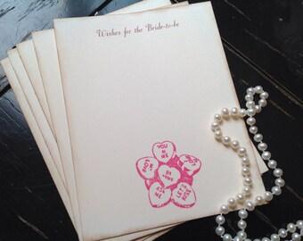 Valentine weddings- conversation hearts- Valentine wish cards-wedding wish cards-bride-to-be wish cards- set of 12