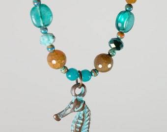 Seahorse and sand necklace with free shipping