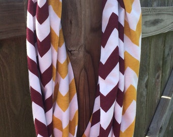 Maroon and Antique Gold Infinity Scarf