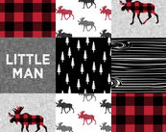 Little Man Moose Patchwork Print Bumper Pads (navy or black)