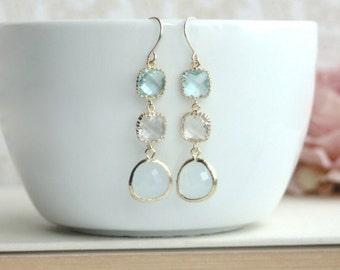 Blush Blue Earrings. Aqua Blue, Clear Glass, Gold Framed Blue Glass Dangle Long Earring. Modern Earrings. Wedding Bridal Bridesmaid Earring