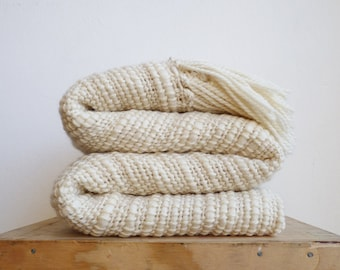 Natural Organic Textured Merino Wool chunky throw, Off White Afghans Throw Blanket hand woven, Mother's day gift for her