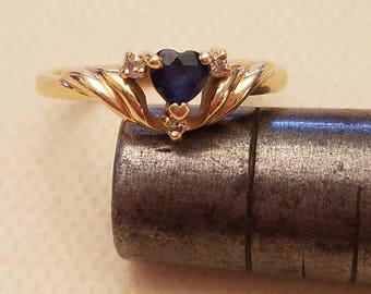 14k Yellow Gold Blue Heart Ring with 3 Diamonds